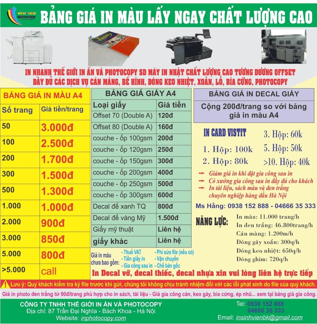 Photo màu giá rẻ Hà Nội - bảng giá định lượng trên 100gsm