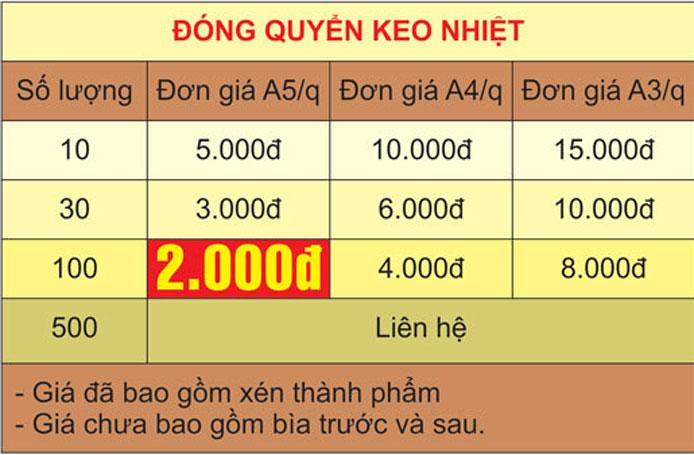 bảng giá đóng sách keo nhiệt - gia công sau in