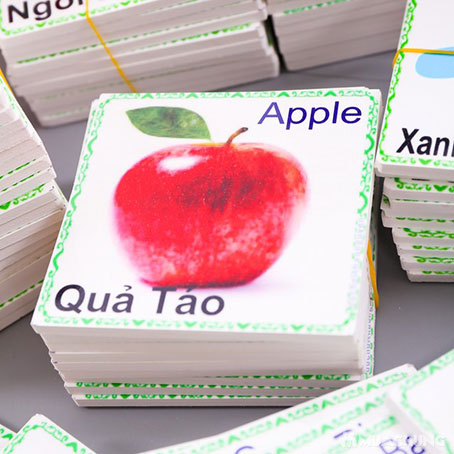 In flashcard trẻ em hình quả táo