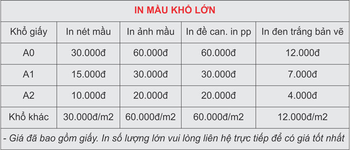 Bảng giá in màu: in màu bao nhiêu tiền 1 tờ A0 tại Hà Nội