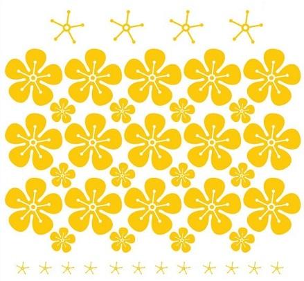 Decal hoa mai năm cánh dán tường