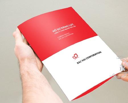 Mẫu bìa hồ sơ năng lực công ty ấn tượng đơn giản với màu đỏ - trắng