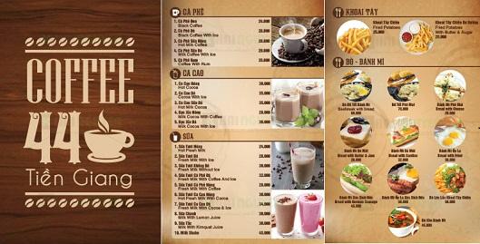Một mẫu thiết kế menu cafe theo danh mục