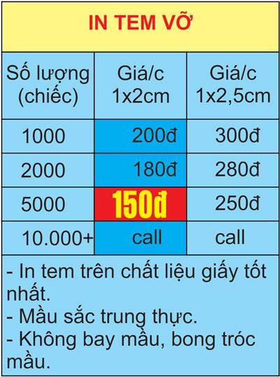 bảng giá in tem bảo hành