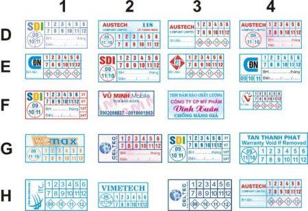tem bảo hành chữ nhật