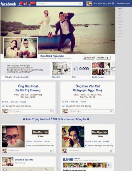 xu hướng thiệp cưới facebook