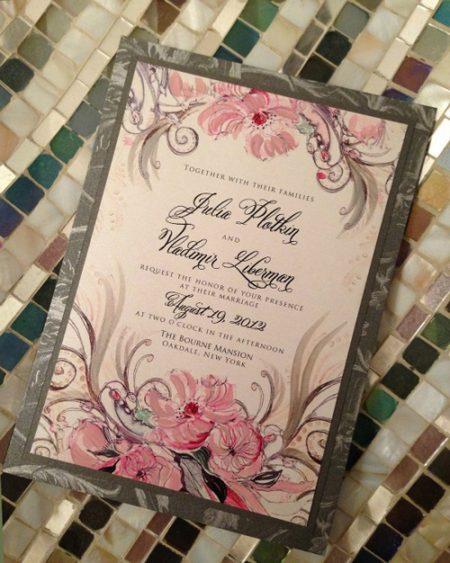 thiệp cưới in hoa