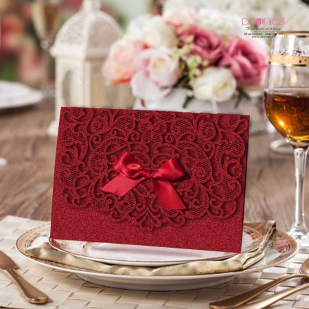 thiệp cưới laser đỏ