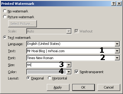 tạo watermark trên word
