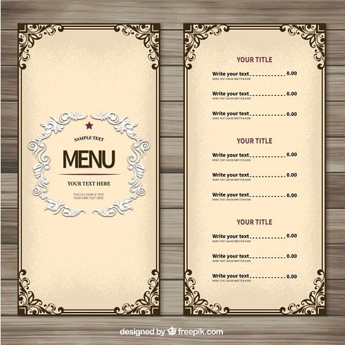 Kích thước menu cafe chữ nhật