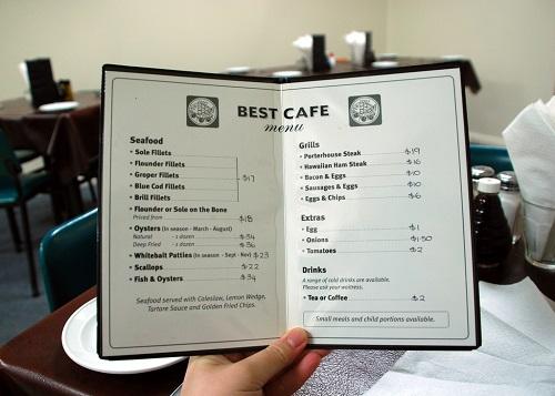 Kích thước nhỏ menu cafe
